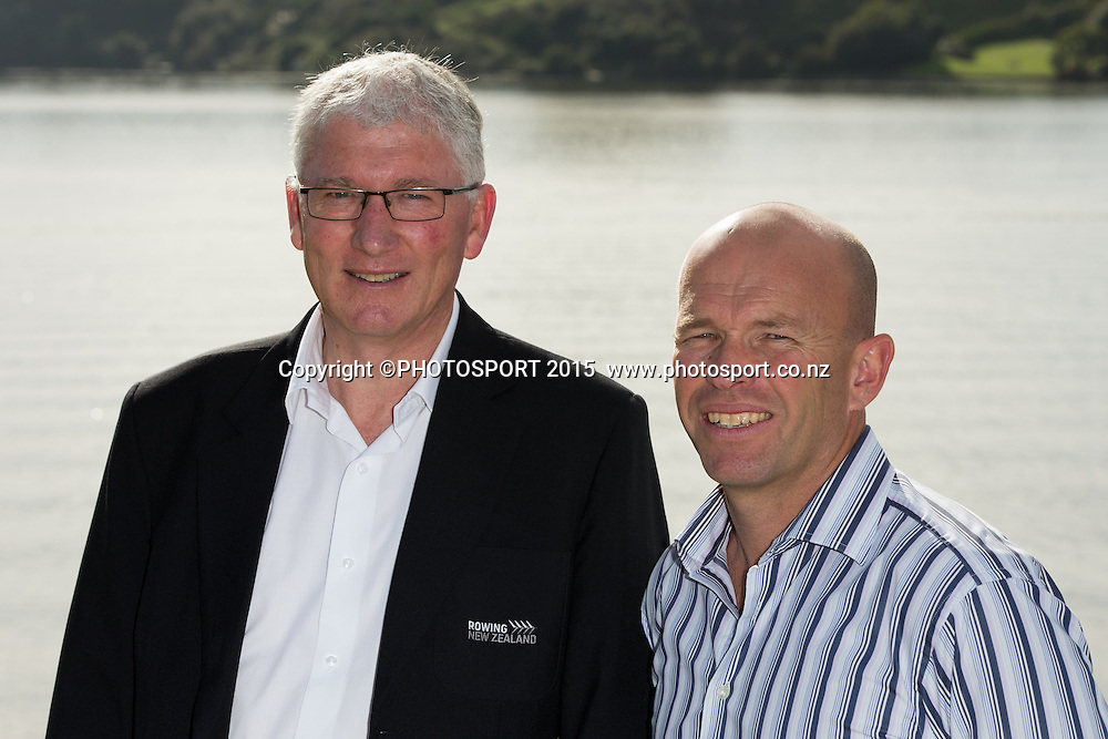 Rowing NZ chairman Gerald Dwyer and CEO Simon Peterson at the Rowing NZ Media Day, Lake Karapiro, Cambridge, New Zealand, Wednesday 6 May 2015. Photo: Stephen Barker/Photosport.co.nz