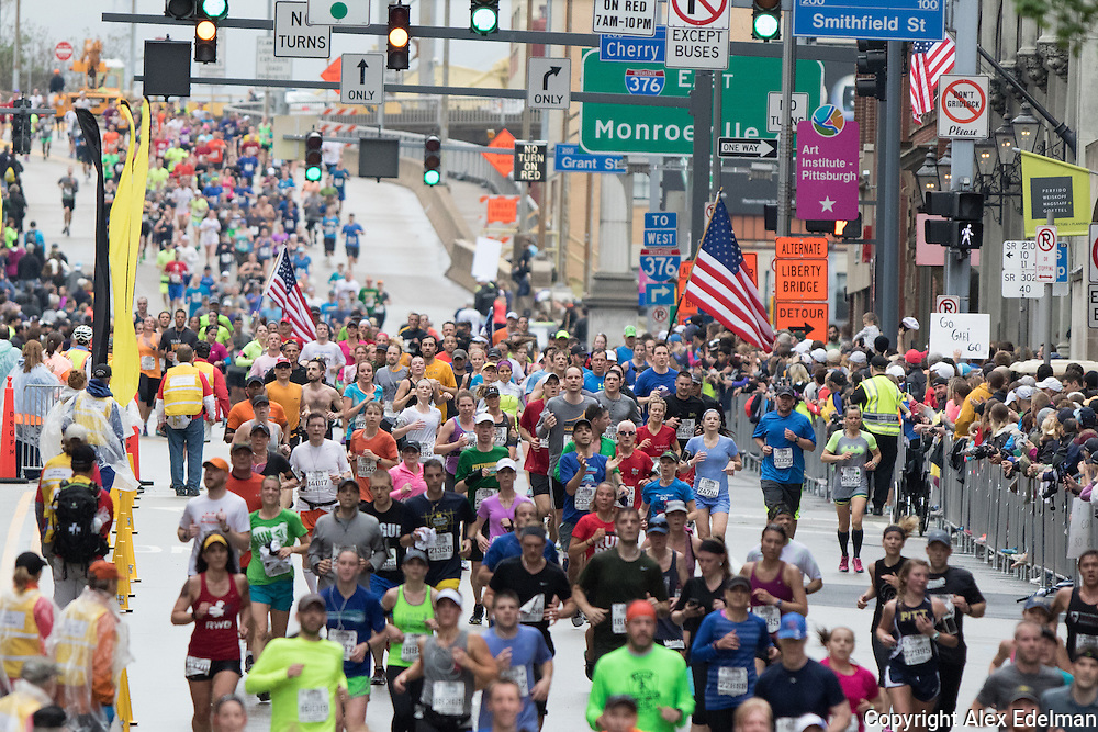 Runners approach the 2016 finish line near where Jeff collapsed during the 2015 race.