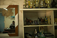 Salvador, Brasil - November 13 of 2013:  Mr. Jaguaracy San-Just's equestrian trophies (equestrian races is his hobby). Esse Eme is a little carpentry shop that produces furniture for offices and super-markets. Photo: Caio Guatelli, in assignment for Neue Zürcher Zeitung