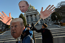 Artist Jay Ruby created Trump and Putin puppets staged at the steps the State Capitol steps in anticipation of members of the Electoral College, in Harrisburg, PA, on Dec. 19th, 2016