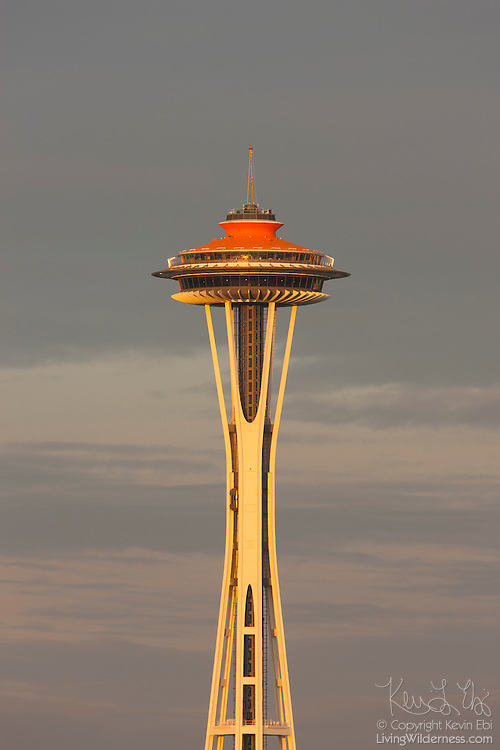 """The Space Needle, shown on April 21, 2012, the 50th anniversary of the opening of the World's Fair in Seattle, Washington, displays its original """"galaxy gold"""" color. The fair, officially called the Century 21 Exposition, highlighted space and science achievements and the Space Needle was built specifically for the occasion. Ten million people attended the Seattle World's Fair, which ran from April 21 to October 21, 1962."""