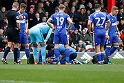 Ipswich Town defender Luke Chambers (4) goes down injured during the EFL Sky Bet Championship match between Brentford and Ipswich Town at Griffin Park, London, England on 7 April 2018. Picture by Andy Walter.