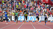 Usain Bolt (JAM), center, wins the 100m 10.06 during the 56th Ostrava Golden Spike in an IAAF World Challenge meeting at Mestky Stadion in Ostrava, Czech Republic on Wednesday, June 28, 20017. From left: Jak Ali Harvey (TUR), Yunier Perez (CUB), Bolt, Jan Volko (SVK), Emre Zafer Barnes (TUR). (Jiro Mochizuki/Image of Sport)