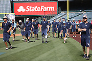 ANAHEIM, CA - MAY 17:  The Tampa Bay Rays warm up during batting practice before the game against the Los Angeles Angels of Anaheim at Angel Stadium on Saturday, May 17, 2014 in Anaheim, California. The Angels won the game in a 6-0 shutout. (Photo by Paul Spinelli/MLB Photos via Getty Images)