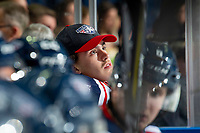 KELOWNA, BC - OCTOBER 2:  Goalie Talyn Boyko #31 of the Tri-City Americans watches the replay from the bench against the Kelowna Rockets  at Prospera Place on October 2, 2019 in Kelowna, Canada. (Photo by Marissa Baecker/Shoot the Breeze)