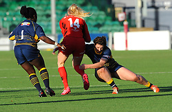 Georgie Lingham of Saracens Women is tackled by Megan Varley of Worcester Valkyries- Mandatory by-line: Nizaam Jones/JMP - 01/12/2018 - RUGBY - Sixways Stadium - Worcester, England - Worcester Valkyries v Saracen Women- Tyrrells Premier 15s