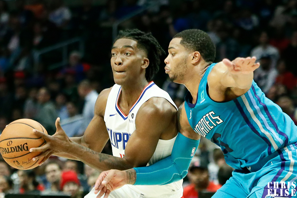 LOS ANGELES, CA - OCT 28: Terance Mann (14) of the LA Clippers drives during a game on October 28, 2019 at the Staples Center, in Los Angeles, California.