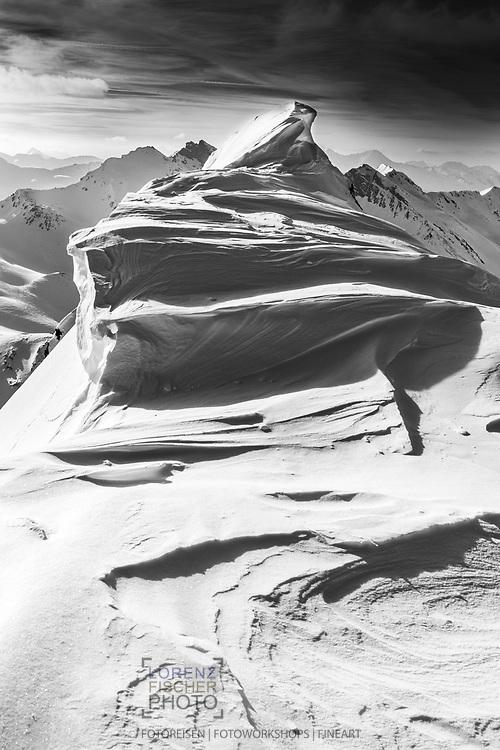 On the peak ridge of Piz Turba, Grisons, Switzerland