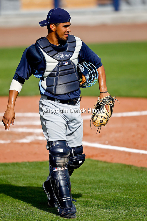 February 25, 2011; Port Charlotte, FL, USA; Tampa Bay Rays catcher Robinson Chirinos (38) during a spring training split squad scrimmage at Charlotte Sports Park.  Mandatory Credit: Derick E. Hingle