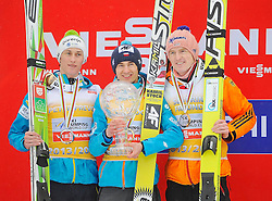 23.03.2014, Planica, Ratece, SLO, FIS Weltcup Ski Sprung, Planica, Siegerehrung, Skisprung, Gesamtwertung, im Bild 2. Platz Peter Prevc, 1. Platz Kamil Stoch, 3. Platz Severin Freund / on podium of overall mens FIS Ski jumping Worldcup Cup at Planica in Ratece, Slovenia on 2014/03/23. EXPA Pictures © 2014, PhotoCredit: EXPA/ Newspix/ Irek Dorozanski<br /> <br /> *****ATTENTION - for AUT, SLO, CRO, SRB, BIH, MAZ, TUR, SUI, SWE only*****