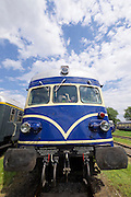 "Strasshof, Austria.<br /> Triebwagentage (railcar days) at Das Heizhaus - Eisenbahnmuseum Strasshof, Lower Austria's newly designated competence center for railway museum activities.<br /> ÖBB 4145 ""Blauer Blitz (Blue Lightning)"", 1952-1962, running until 1997."