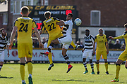 Forest Green Rovers Omar Bugiel(11) and Southport's Jim Stevenson(22) battle for the ball during the Vanarama National League match between Southport and Forest Green Rovers at the Merseyrail Community Stadium, Southport, United Kingdom on 17 April 2017. Photo by Shane Healey.