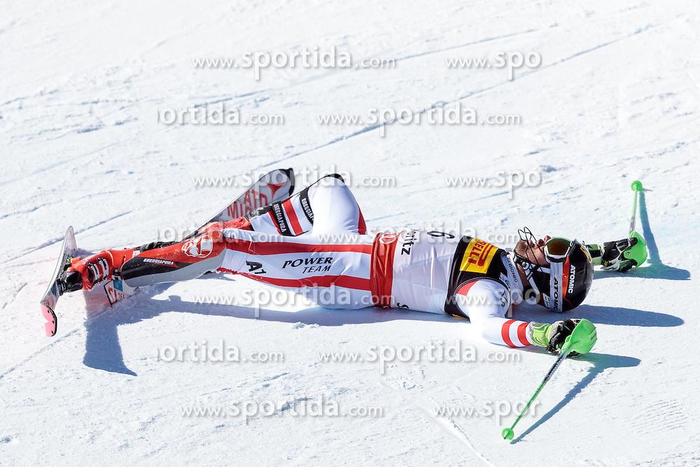 19.02.2017, St. Moritz, SUI, FIS Weltmeisterschaften Ski Alpin, St. Moritz 2017, Slalom, Herren, 2. Lauf, im Bild Marcel Hirscher (AUT, Herren Slalom Bronzemedaille) // men's Slalom world Champion and Gold medalist Marcel Hirscher of Austria reacts after his 2nd run of men's Slalom of the FIS Ski World Championships 2017. St. Moritz, Switzerland on 2017/02/19. EXPA Pictures © 2017, PhotoCredit: EXPA/ Johann Groder