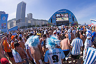 Argentina fans watch the game at the FIFA Fan Fest, Copacabana beach, Rio de Janeiro, during the Argentina v Belgium World Cup quarter final match which was shown on big screens.<br /> Picture by Andrew Tobin/Focus Images Ltd +44 7710 761829<br /> 05/07/2014