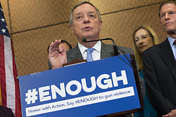 October 3, 2017 - Washington, District Of Columbia, USA - Senate Minority Whip Senator DICK DURBIN (D-IL) speaks during a press conference on gun violence held by Senate Democrats at the United States Capitol. The group of lawmakers demanded new legislation to bring forward gun control measures in response to the mass shooting in Las Vegas. (Credit Image: © Alex Edelman via ZUMA Wire)