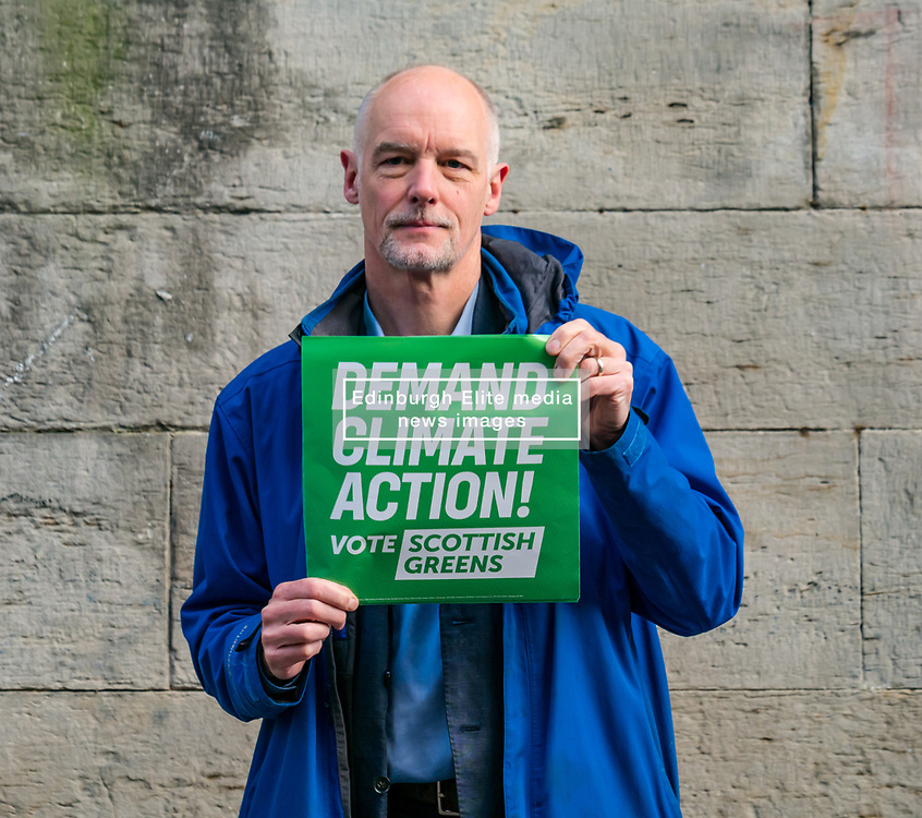 Hunter Square, Edinburgh, Scotland, United Kingdom, 28 November 2019. General Election: The Scottish Greens demand action about climate change as part of their general election campaign. Pictured:  Dr Steve Burgess, Scottish Green councillor in Edinburgh & the Greens' spokesperson on Climate Change.<br /> Sally Anderson   EdinburghElitemedia.co.uk