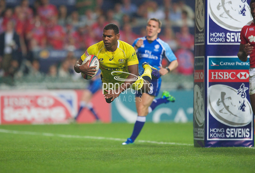 Shannon Walker scores a diving try during the Hong Kong Sevens 2015 match between Australia and Portugal at Hong Kong Stadium, Hong Kong on 27 March 2015. Photo by Ian Muir....during the Hong Kong Sevens 2015 match between ........... at Hong Kong Stadium, Hong Kong on 27 March 2015. Photo by Ian Muir.