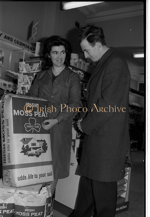 06/03/1964<br /> 03/06/1964 <br /> 06 March 1964 <br /> New Moss Peat packs introduced by Bord na Mona. Picture shows &quot;a pretty shop assistant showing the new Moss Peat pack to a customer&quot; at unnamed store.