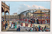 Coronation procession of George IV (1762-1830), St James' Park, London, 19 July 1821. The balloon in the sky on right is Charles Green's, making the first successful flight using coal gas. Artist W Heath.