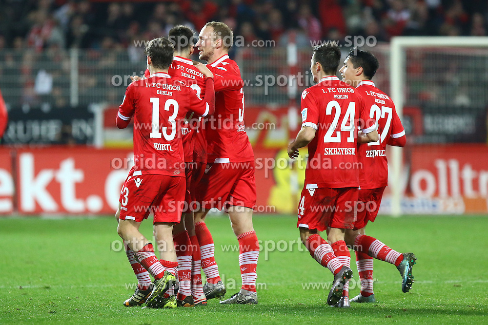 18.12.2015, Alte Foersterei, Berlin, GER, 2. FBL, 1. FC Union Berlin vs SV 1916 Sandhausen, 19. Runde, im Bild Freude bei den Eisernen ueber den Treffer von Dennis Daube (#10, 1. FC Union Berlin) zum 1:0 // during the 2nd German Bundesliga 19th round match between 1. FC Union Berlin and SV 1916 Sandhausen at the Alte Foersterei in Berlin, Germany on 2015/12/18. EXPA Pictures &copy; 2015, PhotoCredit: EXPA/ Eibner-Pressefoto/ Hundt<br /> <br /> *****ATTENTION - OUT of GER*****