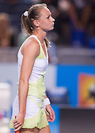 Magdalena Rybarikova (SVK)<br /> 2010 Australian Open Tennis<br /> Womens Singles<br /> First Round<br /> 18/01/10<br /> Magdalena Rybarikova looks dismayed as she is outclassed by top seeded Russian Dinara Safina<br /> &quot;Hisense Arena&quot; Melbourne Park, Melbourne, Victoria, Australia<br /> Photo By Lucas Wroe