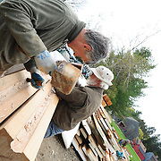 Paul and Dennis chiselling out the propeller shaft