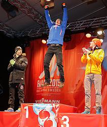 26.02.2015, Medal Plaza, Falun, SWE, FIS Weltmeisterschaften Ski Nordisch, Nordische Kombination, Medaillen Zeremonie, im Bild (v. l.) Francois Braud (FRA), Bernhard Gruber (AUT) und Johannes Rydzek (GER) // (v. l.) Francois Braud (FRA), Bernhard Gruber (AUT) und Johannes Rydzek (GER) during the Nordic Combined Medal Ceremony of the FIS Nordic Ski World Championships 2015 at the Medal Plaza, Falun, Sweden on 2015/02/26. EXPA Pictures © 2015, PhotoCredit: EXPA/ SM