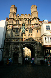 UK ENGLAND CANTERBURY 15OCT05 - Christ Church Gate in front of the Canterbury Cathedral, also known as the Buttermarket...jre/Photo by Jiri Rezac..© Jiri Rezac 2005.Contact: +44 (0) 7050 110 417.Mobile: +44 (0) 7801 337 683.Office: +44 (0) 20 8968 9635..Email: jiri@jirirezac.com.Web: www.jirirezac.com..© All images Jiri Rezac 2005 - All rights reserved.
