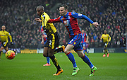 Jordon Mutch battles for posession during the Barclays Premier League match between Crystal Palace and Watford at Selhurst Park, London, England on 13 February 2016. Photo by Michael Hulf.