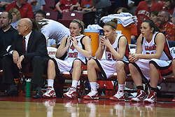 1 April 2010: Amanda Clifton, Katie Broadway and Emily Hanley look on dejectedly as they realize the game has become out of reach. The Redbirds of Illinois State are dropped by the Golden Bears of California 61-45 in the semi-final round of the 2010 Women's National Invitational Tournament (WNIT) on Doug Collins Court inside Redbird Arena at Normal Illinois.
