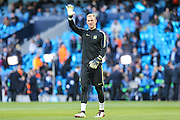 Manchester City's Joe Hart warming up ahead of the Champions League match between Manchester City and Real Madrid at the Etihad Stadium, Manchester, England on 26 April 2016. Photo by Shane Healey.