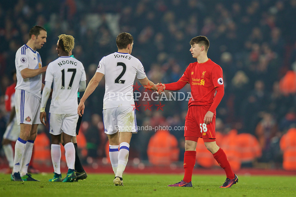 LIVERPOOL, ENGLAND - Saturday, November 26, 2016: Liverpool's Welsh youngster Ben Woodburn makes his debut during the FA Premier League match against Sunderland at Anfield. (Pic by David Rawcliffe/Propaganda)