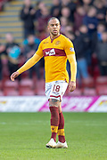 Charles Dunne (#18) of Motherwell FC during the Ladbrokes Scottish Premiership match between Motherwell FC and Heart of Midlothian FC at Fir Park, Stadium, Motherwell, Scotland on 17 February 2019.