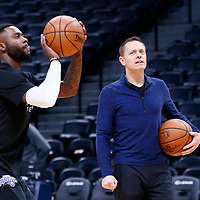 11 November 2017:  Orlando Magic Assistant Coach Chad Forcier works with Orlando Magic forward Jonathon Simmons (17) prior to the Denver Nuggets 125-107 victory over the Orlando Magic, at the Pepsi Center, Denver, Colorado, USA.