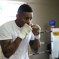 "WINTER HAVEN, FL - MAY 05: Boxer Willie Monroe Jr. shadow boxes as he works out at the Winter Haven Boxing Gym on May 5, 2015 in Winter Haven, Florida. Monroe will challenge middleweight world champion Gennady ""GGG"" Golovkin for the WBA world championship title in Los Angeles on May 16.  (Photo by Alex Menendez/Getty Images) *** Local Caption *** Willie Monroe Jr."