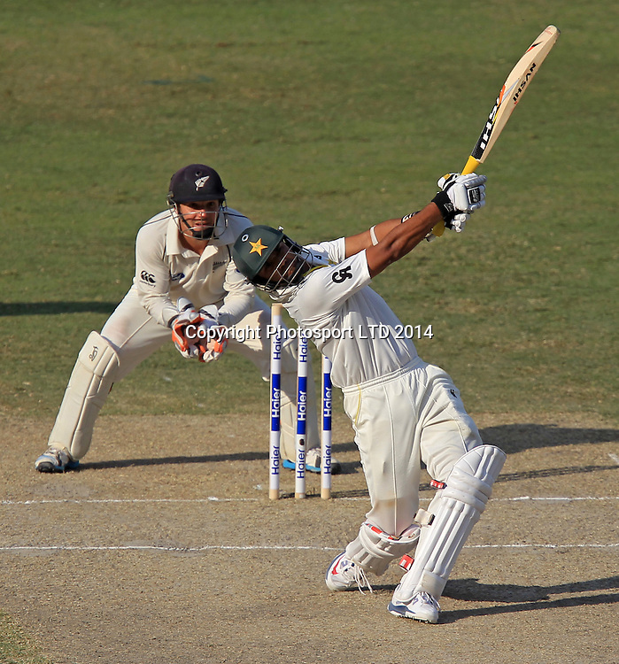Pakistan vs New Zealand, 19 November 2014 <br /> Azhar Ali hits a towering six on the third day of second test in Dubai