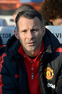 Man Utd Assistant Manager Ryan Giggs sitting in the dugout before k/o. Barclays Premier league match, Queens Park Rangers v Manchester Utd at Loftus Road in London on Saturday 17th Jan 2015. pic by John Patrick Fletcher, Andrew Orchard sports photography.