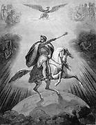 Napoleon I (1769-1821) as conqueror of the world.  Engraving