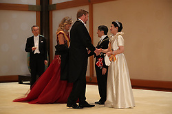 King Willem-Alexander and Queen Maxima of the Netherlands greeted by Emperor Naruhito and Empress Masako ahead of a court banquet at the Imperial Palace on October 22, 2019 in Tokyo, Japan. Photo by Robin Utrecht/ABACAPRESS.COM