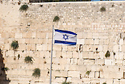 Israel, Jerusalem old city the wailing wall The Israeli flag