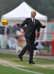 Watford Manager, Giuseppe Sannino gets hit by the ball on the touchline. - Photo mandatory by-line: Alex James/JMP - Tel: Mobile: 07966 386802 18/01/2014 - SPORT - FOOTBALL - Goldsands Stadium - Bournemouth - Bournemouth v Watford - Sky Bet Championship