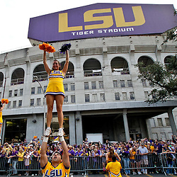 November 13, 2010; Baton Rouge, LA, USA; LSU Tigers cheerleaders perform outside prior to kickoff of a game between the LSU Tigers and the Louisiana Monroe Warhawks at Tiger Stadium. LSU defeated Louisiana-Monroe 51-0.  Mandatory Credit: Derick E. Hingle