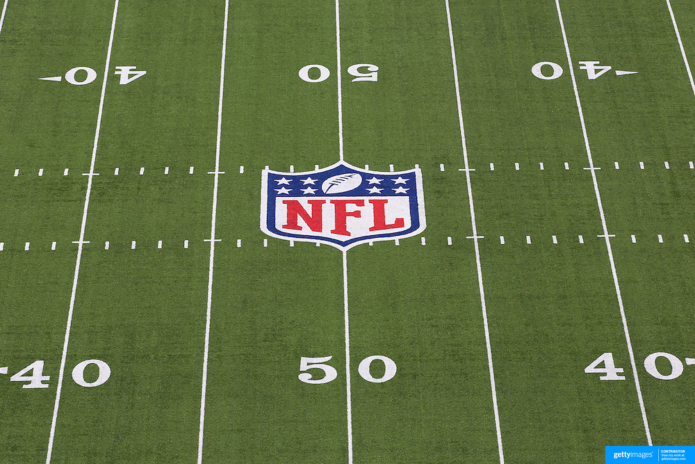 The NFL logo and American Football field markings on the surface of MetLife Stadium during the New York Jets V New England Patriots NFL regular season game at MetLife Stadium, East Rutherford, NJ, USA. 20th October 2013. Photo Tim Clayton