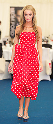 LIVERPOOL, ENGLAND - Thursday, June 20, 2013: Model Rebecca Bushall wearing a dress from the Dressing Room during a fashion show on the Day One at the Liverpool Hope University International Tennis Tournament at Calderstones Park. (Pic by David Rawcliffe/Propaganda)
