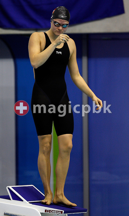 Stephanie SPAHN of Switzerland prepares herself before competing in the women's 100m Breaststroke Semifinal during the 15th European Short Course Swimming Championships in Szczecin, Poland, Saturday, Dec. 10, 2011. (Photo by Patrick B. Kraemer / MAGICPBK)
