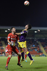 Leyton Orient's David Mooney and Notts County's Alan Sheehan  compete for the ball  - Photo mandatory by-line: Mitchell Gunn/JMP - Tel: Mobile: 07966 386802 17/09/2013 - SPORT - FOOTBALL -  Matchroom Stadium - London - Leyton Orient v Notts County - Sky Bet League One