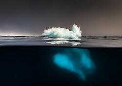 Split underwater iceberg in Antarctica