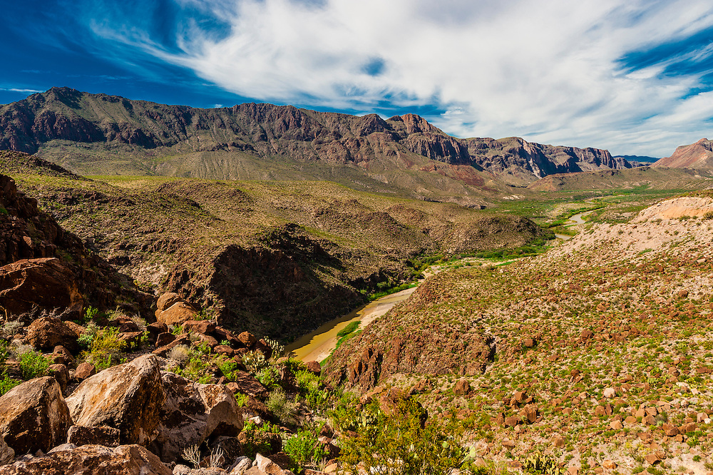 The Camino del Rio (along the Rio Grande River, which is the border of the USA and Mexico. Mexico is on the left side of the river), Big Bend Ranch State Park, Texas USA.