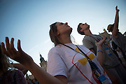 KRAKOW,POLAND 23 JULY: Pilgrims arrive to Krakow, Poland for the 31st Annual World Youth Day. Small celebrations occur around the city as the joyful pilgrims arrive. Krakow was the site of the first World Youth Day, presided over by then, Pope John Paul II (Saint John Paul II).