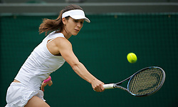 LONDON, ENGLAND - Tuesday, June 28, 2011: Tsvetana Pironkova (BUL) in action during the Ladies' Singles Quarter-Final match on day eight of the Wimbledon Lawn Tennis Championships at the All England Lawn Tennis and Croquet Club. (Pic by David Rawcliffe/Propaganda)